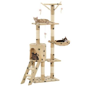 vidaXL Penjalica za mačke sa stupovima za grebanje od sisala 138 cm bež s uzorkom šapa