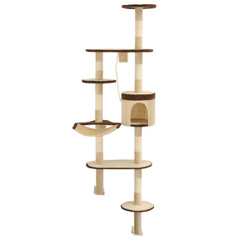 vidaXL Zidna penjalica za mačke sa stupovima za grebanje od sisala 194 cm bež/smeđa