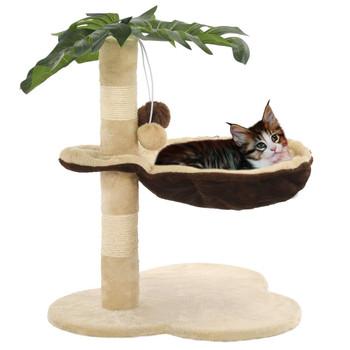 vidaXL Penjalica za mačke sa stupovima za grebanje od sisala 50 cm bež i smeđa