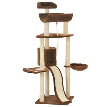 vidaXL Penjalica za mačke sa stupovima za grebanje smeđa 145 cm