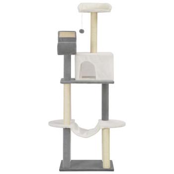 vidaXL Penjalica za mačke sa stupovima za grebanje 155 cm sivo-bijela