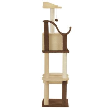 vidaXL Penjalica za mačke sa stupovima za grebanje 155 cm smeđa i bež