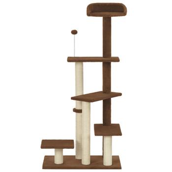 vidaXL Penjalica za mačke sa stupovima za grebanje smeđa 125 cm