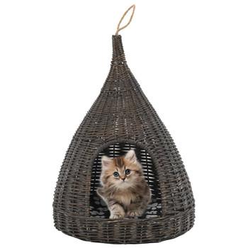 vidaXL Kućica za mačke s jastukom siva 40 x 60 cm od prirodne vrbe