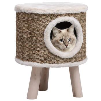 vidaXL Kućica za mačke s drvenim nogama 41 cm od morske trave