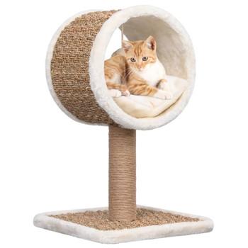 vidaXL Penjalica za mačke s tunelom i igračkom 56 cm od morske trave