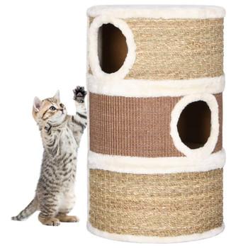 vidaXL Bačva za grebanje za mačke 60 cm od morske trave