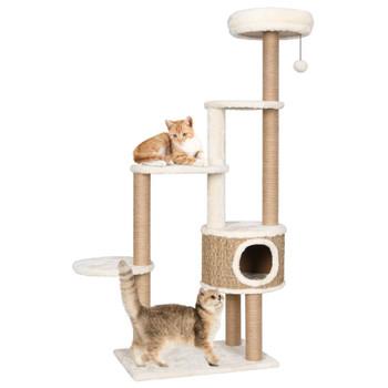 vidaXL Penjalica za mačke s jastukom i stupovima 148 cm morska trava