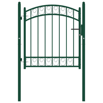 vidaXL Vrata za ogradu s lučnim vrhom čelična 100 x 100 cm zelena