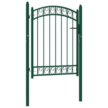 vidaXL Vrata za ogradu s lučnim vrhom čelična 100 x 125 cm zelena