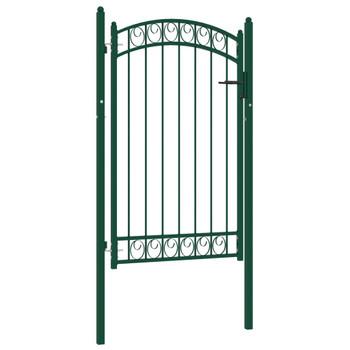vidaXL Vrata za ogradu s lučnim vrhom čelična 100 x 150 cm zelena