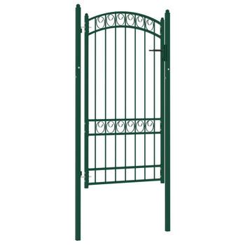 vidaXL Vrata za ogradu s lučnim vrhom čelična 100 x 175 cm zelena