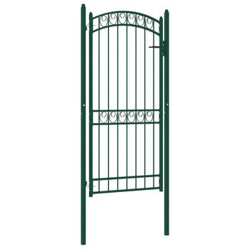 vidaXL Vrata za ogradu s lučnim vrhom čelična 100 x 200 cm zelena