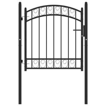 vidaXL Vrata za ogradu s lučnim vrhom čelična 100 x 100 cm crna