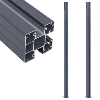 vidaXL Stupovi za ogradu 2 kom tamnosivi 185 cm aluminijski