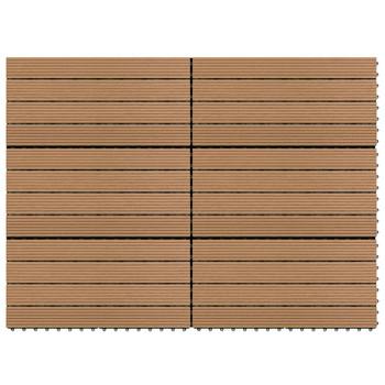 vidaXL Pločice za trijem 6 kom WPC 60 x 30 cm 1,08 m² smeđe