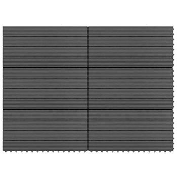 vidaXL Pločice za trijem 6 kom WPC 60 x 30 cm 1,08 m² crne