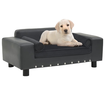 vidaXL Sofa za pse tamnosiva 81 x 43 x 31 cm od pliša i umjetne kože