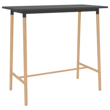 vidaXL Barski stol sivi 120 x 60 x 105 cm MDF i masivna bukovina