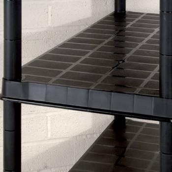 vidaXL Police za pohranu s 5 razina crne 340 x 40 x 185 cm plastične