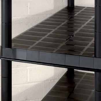 vidaXL Police za pohranu s 5 razina crne 366 x 45,7 x 185 cm plastične