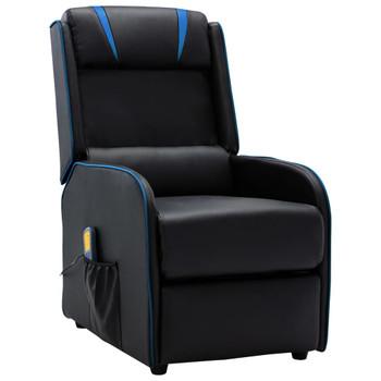 vidaXL Masažni naslonjač od umjetne kože crno-plavi