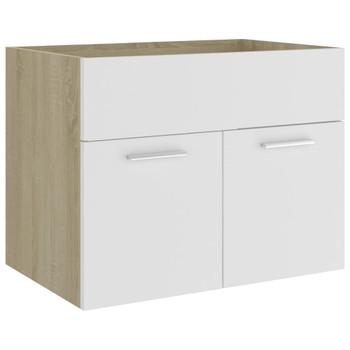 vidaXL Ormarić za umivaonik bijeli i boja hrasta 60x38,5x46 cm iverica