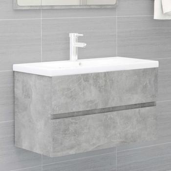 vidaXL Ormarić za umivaonik siva boja betona 80 x 38,5 x 45 cm iverica