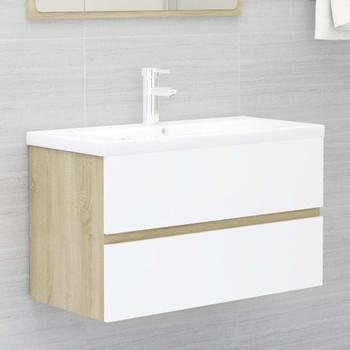 vidaXL Ormarić za umivaonik bijeli i boja hrasta 80x38,5x45 cm iverica