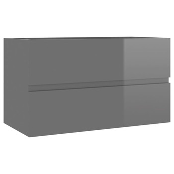 vidaXL Ormarić za umivaonik visoki sjaj sivi 80 x 38,5 x 45 cm iverica