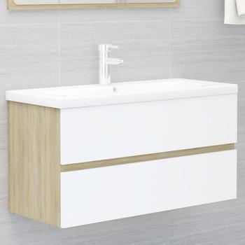 vidaXL Ormarić za umivaonik bijeli i boja hrasta 90x38,5x45 cm iverica