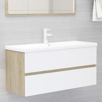 vidaXL Ormarić za umivaonik bijela/boja hrasta 100x38,5x45 cm iverica