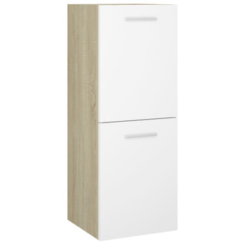 vidaXL Kupaonski ormarić bijeli i boja hrasta 30 x 30 x 80 cm iverica