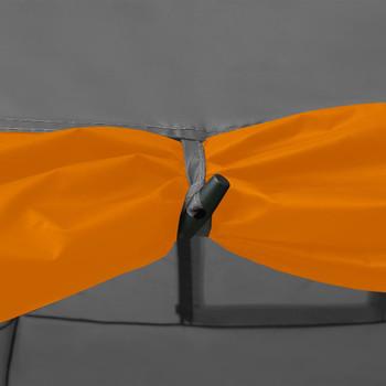vidaXL Šator za kampiranje 650x240x190 cm za 8 osoba sivo-narančasti