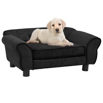 vidaXL Sofa za pse crna 72 x 45 x 30 cm plišana