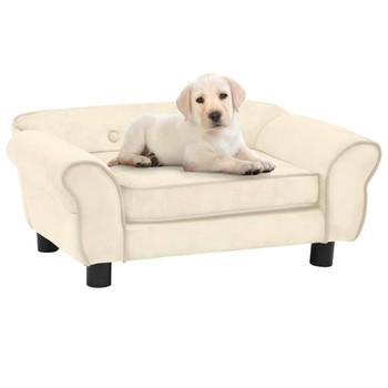 vidaXL Sofa za pse krem 72 x 45 x 30 cm plišana