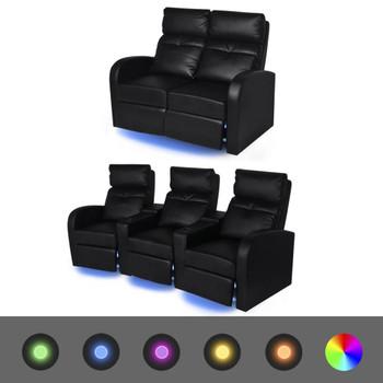 vidaXL Dvodijelni set LED naslonjača 2 + 3 sjedala od umjetne kože crni