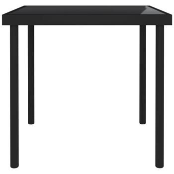 vidaXL Vrtni blagovaonski stol crni 80 x 80 x 72 cm staklo i čelik