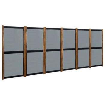 vidaXL Sobna pregrada sa 6 panela crna 420 x 170 cm
