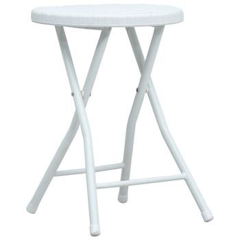 vidaXL Sklopivi vrtni stolci 4 kom bijeli HDPE s izgledom ratana