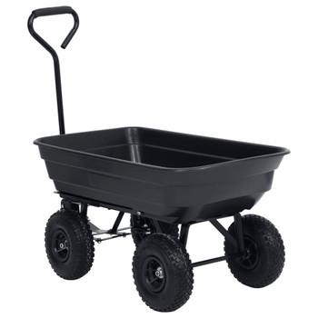 vidaXL Vrtna nagibna ručna kolica 300 kg 75 L crna
