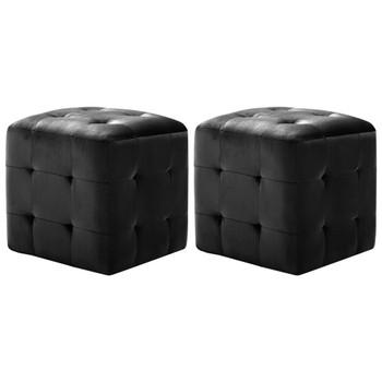 vidaXL Tabure 2 kom crni 30 x 30 x 30 cm od baršunaste tkanine