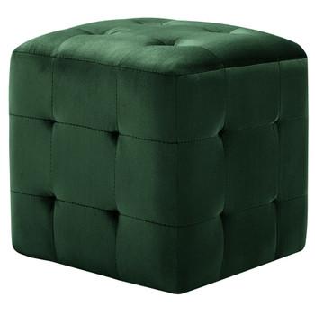 vidaXL Tabure 2 kom zeleni 30 x 30 x 30 cm od baršunaste tkanine