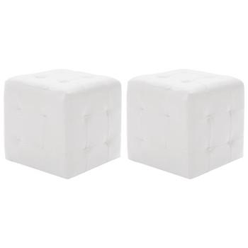 vidaXL Tabure 2 kom bijeli 30 x 30 x 30 cm od umjetne kože