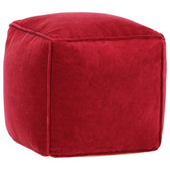 vidaXL Tabure od pamučnog baršuna 40 x 40 x 40 cm rubin-crveni