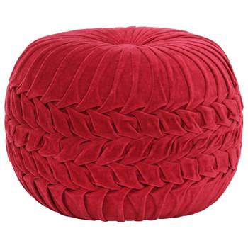 vidaXL Tabure od pamučnog baršuna nabrani dizajn 40 x 30 cm crveni