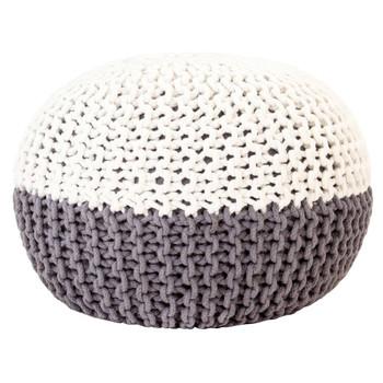 vidaXL Ručno pleteni tabure antracit-bijeli 50 x 35 cm pamučni