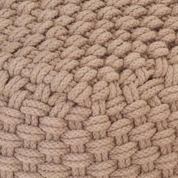 vidaXL Ručno pleteni tabure smeđi 50 x 50 x 30 cm pamučni
