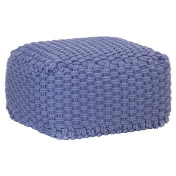 vidaXL Ručno pleteni tabure plavi 50 x 50 x 30 cm pamučni