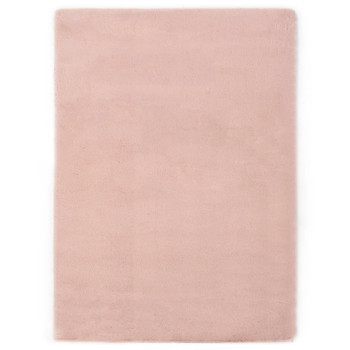 vidaXL Tepih od umjetnog zečjeg krzna 140 x 200 cm blijedo ružičasti